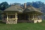 projekt domu z bali na kamiennym fondamencie